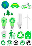 Ecology icons. Collection of ecology icons isolated on white background Stock Images