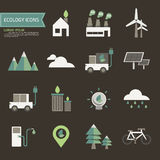 Ecology icons. On brown background vector Stock Photos