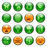 Ecology icons / buttons. Set of glossy buttons with ecology icons Stock Image