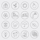 Ecology icons with circle line. Ecology icons, thin line style, flat design royalty free illustration