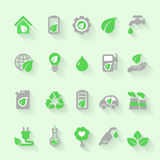 Ecology icons with environment, green energy and. Ecology icons set with environment, green energy and pollution in flat for web and mobile app royalty free illustration