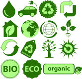 Ecology icons. Green Ecology symbol. Vector icons with an environmental theme Royalty Free Stock Image