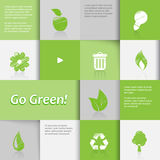 Ecology icons on green tiled background. Stock Photography