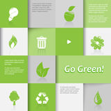 Ecology icons on green tiled background. Stock Image