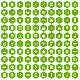 100 ecology icons hexagon green. 100 ecology icons set in green hexagon isolated vector illustration Royalty Free Stock Photos