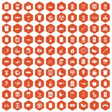 100 ecology icons hexagon orange. 100 ecology icons set in orange hexagon isolated vector illustration Vector Illustration