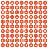 100 ecology icons hexagon orange. 100 ecology icons set in orange hexagon isolated vector illustration Stock Images