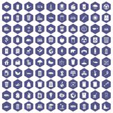 100 ecology icons hexagon purple. 100 ecology icons set in purple hexagon isolated vector illustration stock illustration