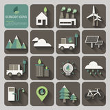 Ecology icons with long shadow on flat design concept. Vector Stock Photography