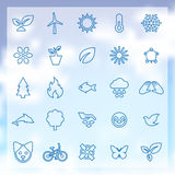 25 ecology icons. 25 outline, thin ecology icons, blue on clouds background Stock Images