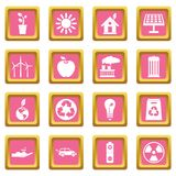 Ecology icons pink Royalty Free Stock Image