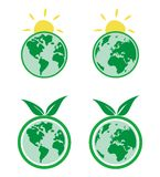 Ecology icons with planet Earth. Eco icons. World globe isolated on white background with North and South America, Greenland, Africa, Europe and Asia stock illustration