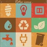 Ecology icons,Retro style.  Stock Photo