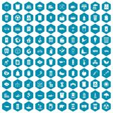 100 ecology icons sapphirine violet. 100 ecology icons set in sapphirine hexagon isolated vector illustration vector illustration
