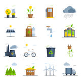 Ecology Icons Set. With bicycle forest solar energy and water flat vector illustration royalty free illustration