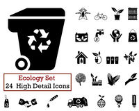 24 Ecology Icons. Set of 24 Ecology Icons in Black Color Royalty Free Stock Image