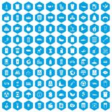 100 ecology icons set blue. 100 ecology icons set in blue hexagon isolated vector illustration Vector Illustration