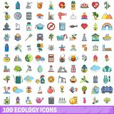 100 ecology icons set, cartoon style. 100 ecology icons set in cartoon style for any design vector illustration Stock Photos