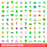 100 ecology icons set, cartoon style Stock Photos