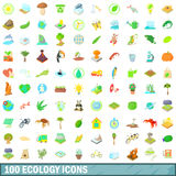 100 ecology icons set, cartoon style. 100 ecology icons set in cartoon style for any design vector illustration Stock Photo