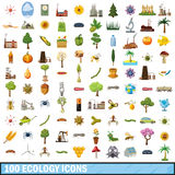 100 ecology icons set, cartoon style Stock Photo