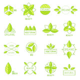 Ecology icons set elements labels organic natural Stock Photo