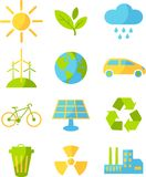 Ecology icons. Set of ecology icons in flat colorful style Stock Images