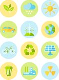 Ecology icons. Set of ecology icons in flat colorful style Royalty Free Stock Image