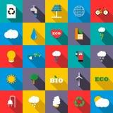Ecology icons set, flat style Royalty Free Stock Photo