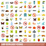 100 ecology icons set, flat style Royalty Free Stock Photos