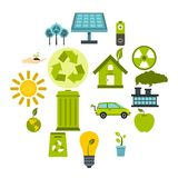 Ecology icons set, flat style. Ecology icons set in flat style. Environmental, recycling, renewable energy, nature elements set collection vector illustration vector illustration