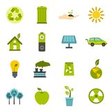 Ecology icons set, flat style. Ecology icons set in flat style. Environmental, recycling, renewable energy, nature elements set collection illustration stock illustration