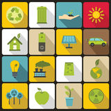 Ecology icons set, flat style. Ecology icons set in flat style. Environmental, recycling, renewable energy, nature elements set collection vector illustration Stock Illustration