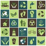 Ecology icons set on green and brown. Flat  design Stock Photos