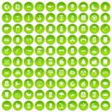 100 ecology icons set green circle. Isolated on white background vector illustration Royalty Free Stock Images
