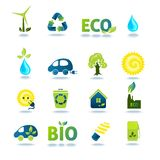 Ecology Icons Set. Ecology green energy and recycling icons with shadows set isolated vector illustration Vector Illustration