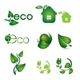 Ecology icons set with green leaves and houses. stock illustration