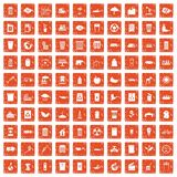 100 ecology icons set grunge orange. 100 ecology icons set in grunge style orange color isolated on white background vector illustration Royalty Free Stock Images