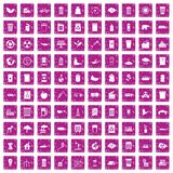 100 ecology icons set grunge pink. 100 ecology icons set in grunge style pink color isolated on white background vector illustration Royalty Free Stock Image