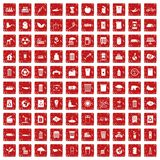 100 ecology icons set grunge red. 100 ecology icons set in grunge style red color isolated on white background vector illustration royalty free illustration
