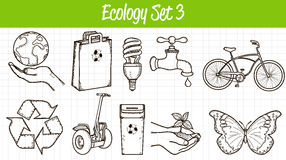 Ecology icons set. Hand drawn illustration. Vector Royalty Free Stock Photo