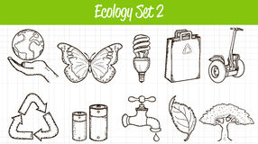 Ecology icons set. Hand drawn illustration. Vector Stock Photos