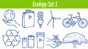Ecology icons set. Hand drawn illustration. Vector Royalty Free Stock Photography