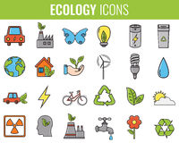 Ecology icons set. Icons for renewable energy, green technology. Hand drawn. Vector. Illustration Stock Photography