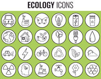 Ecology icons set. Icons for renewable energy, green technology. Hand drawn. Vector. Illustration Stock Image
