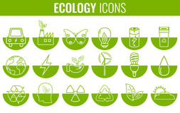Ecology icons set. Icons for renewable energy, green technology. Hand drawn. Vector. Illustration Royalty Free Stock Photo