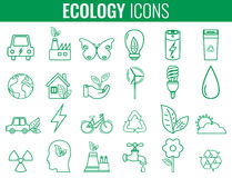 Ecology icons set. Icons for renewable energy, green technology. Hand drawn. Vector. Illustration stock illustration