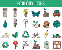 Ecology icons set. Icons for renewable energy, green technology. Hand drawn. Vector. Illustration Royalty Free Stock Photos