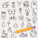 Ecology icons set. Icons for renewable energy, green technology. Hand drawn. Vector Royalty Free Stock Images