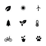 Ecology 9 icons set. Isolated, black on white background Stock Photography